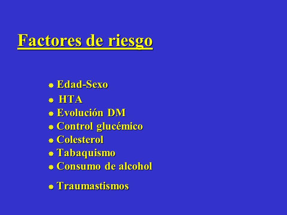 Factores de riesgo  Edad-Sexo  HTA  Evolución DM  Control glucémico  Colesterol  Tabaquismo  Consumo de alcohol  Traumastismos