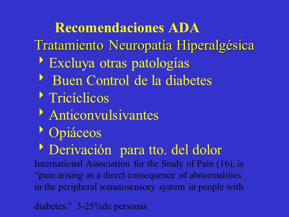 Recomendaciones ADA Tratamiento Neuropatía Hiperalgésica Excluya otras patologías  Buen Control de la diabetes Tricíclicos Anticonvulsivantes Opiáceos Derivación para tto.