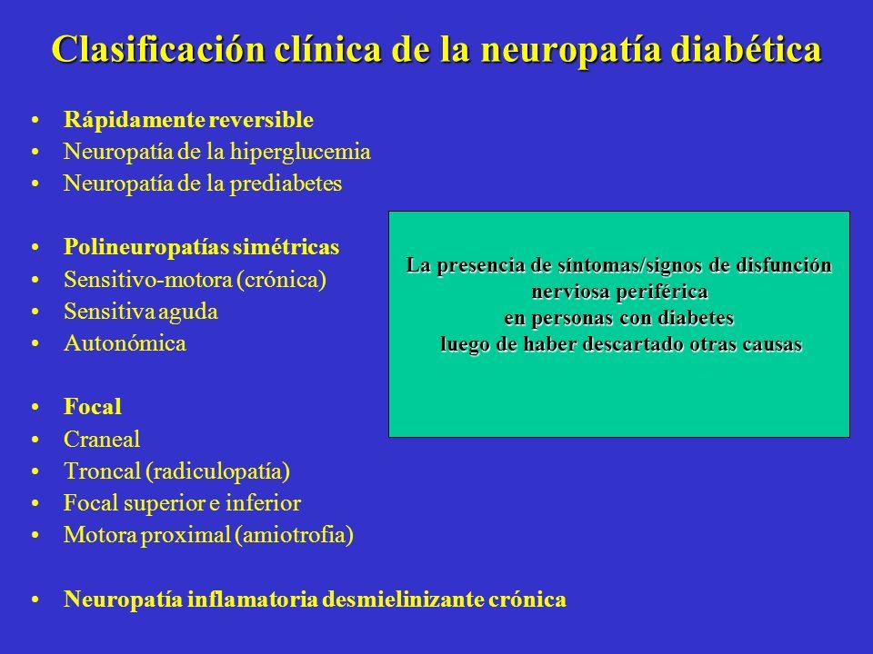 Clasificación clínica de la neuropatía diabética