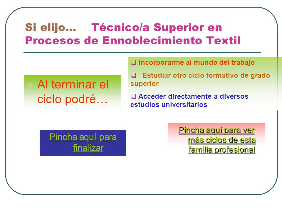 Si elijo… Técnico/a Superior en Procesos de Ennoblecimiento Textil