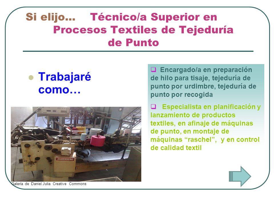 Si elijo… Técnico/a Superior en. Procesos Textiles de Tejeduría