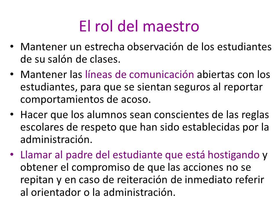 El rol del maestro Mantener un estrecha observación de los estudiantes de su salón de clases.