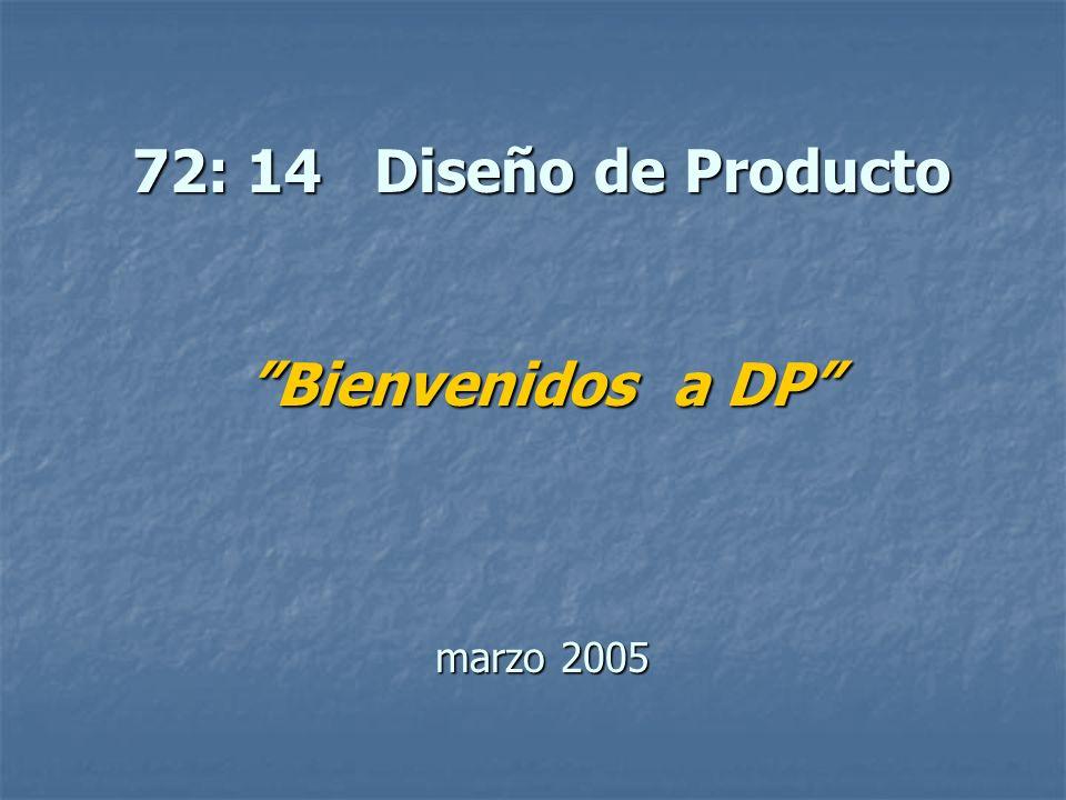 72: 14 Diseño de Producto Bienvenidos a DP marzo 2005