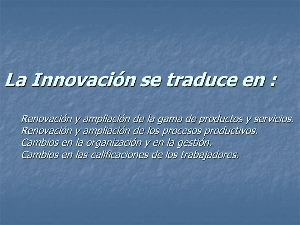 La Innovación se traduce en : Renovación y ampliación de la gama de productos y servicios.