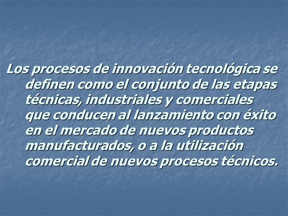 Los procesos de innovación tecnológica se definen como el conjunto de las etapas técnicas, industriales y comerciales que conducen al lanzamiento con éxito en el mercado de nuevos productos manufacturados, o a la utilización comercial de nuevos procesos técnicos.