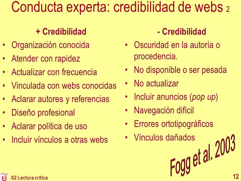 Conducta experta: credibilidad de webs 2