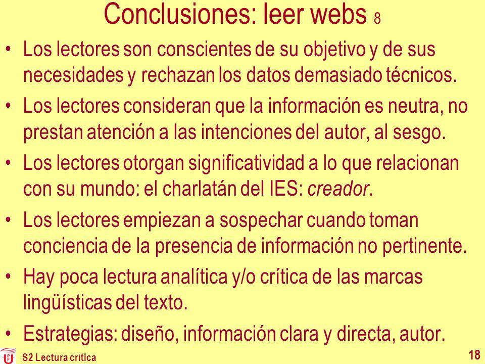 Conclusiones: leer webs 8
