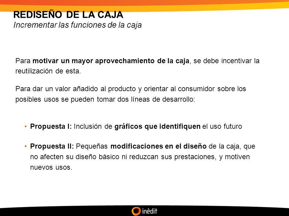 REDISEÑO DE LA CAJA Incrementar las funciones de la caja