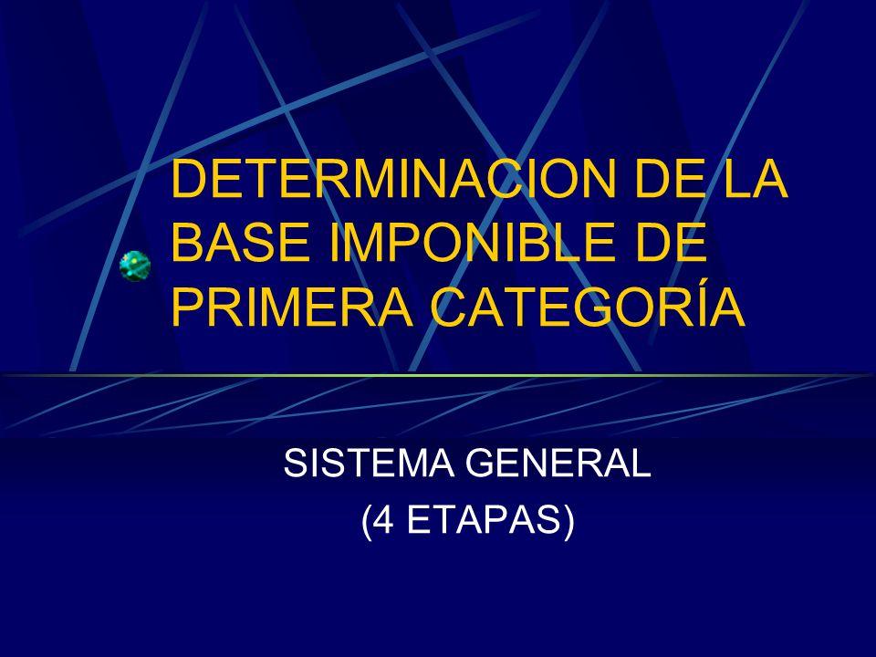 DETERMINACION DE LA BASE IMPONIBLE DE PRIMERA CATEGORÍA