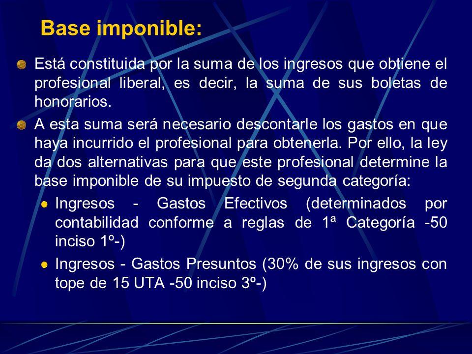 Base imponible: Está constituida por la suma de los ingresos que obtiene el profesional liberal, es decir, la suma de sus boletas de honorarios.