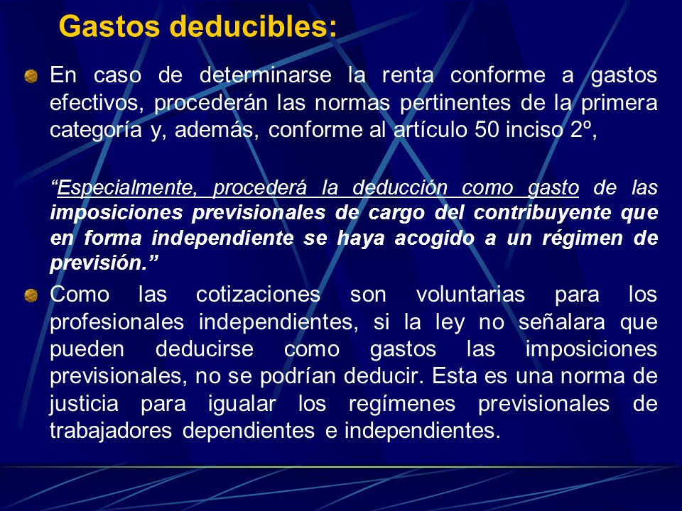 Gastos deducibles: