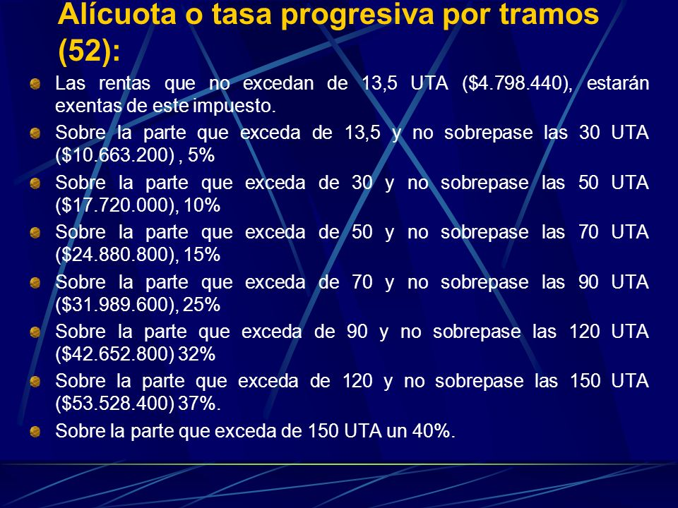 Alícuota o tasa progresiva por tramos (52):