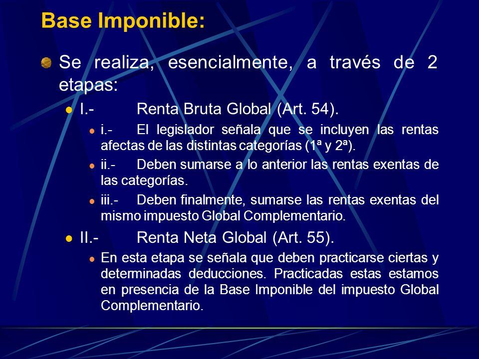 Base Imponible: Se realiza, esencialmente, a través de 2 etapas: