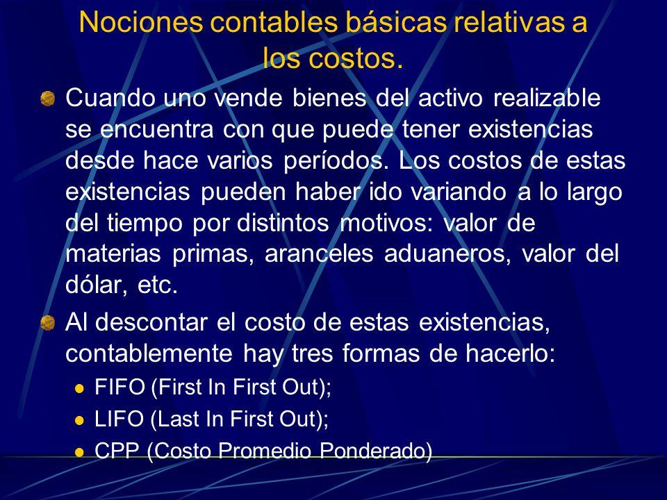 Nociones contables básicas relativas a los costos.