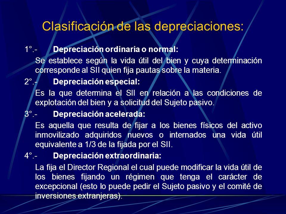 Clasificación de las depreciaciones: