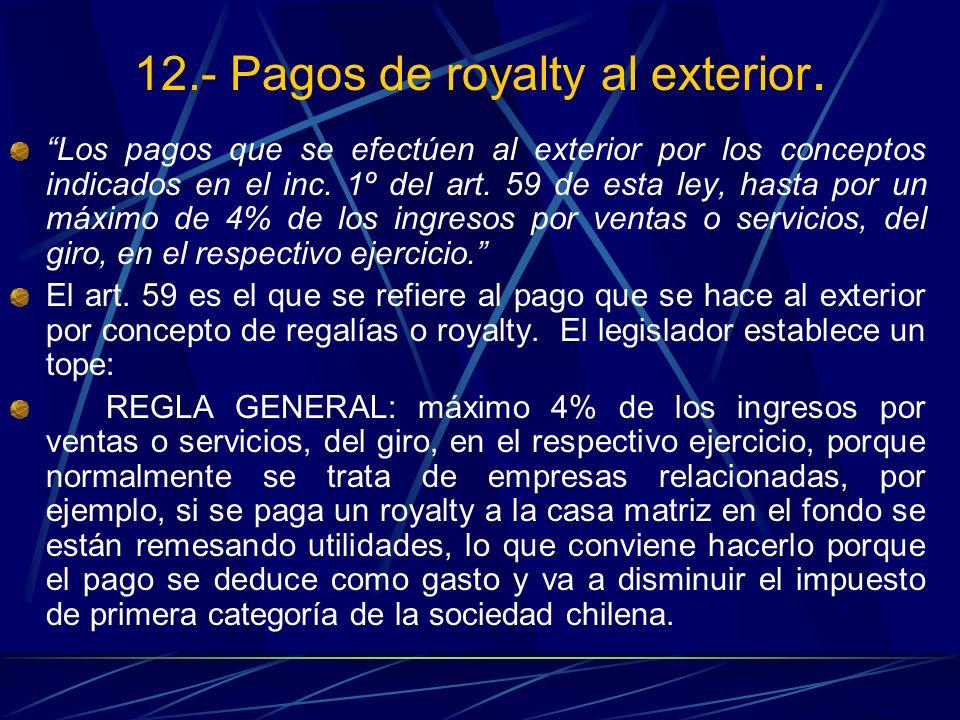 12.- Pagos de royalty al exterior.