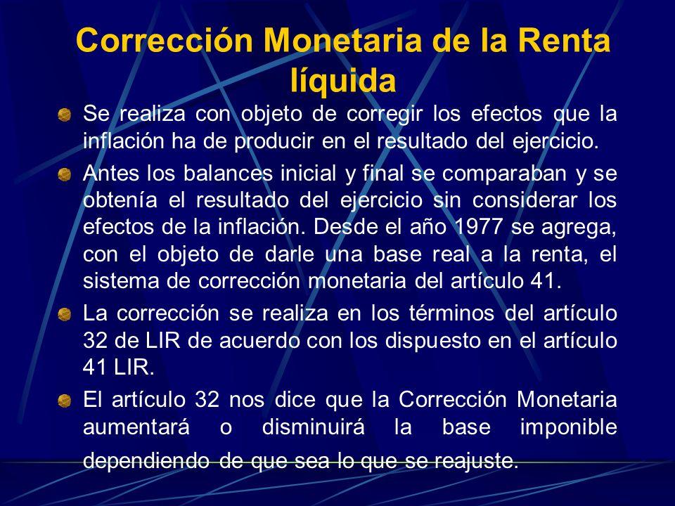 Corrección Monetaria de la Renta líquida