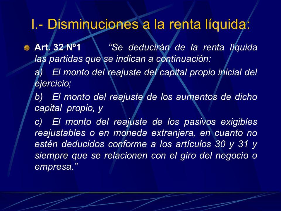 I.- Disminuciones a la renta líquida: