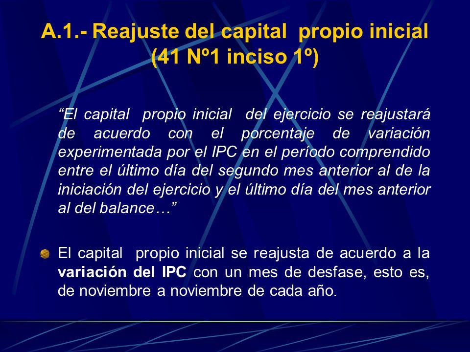 A.1.- Reajuste del capital propio inicial (41 Nº1 inciso 1º)