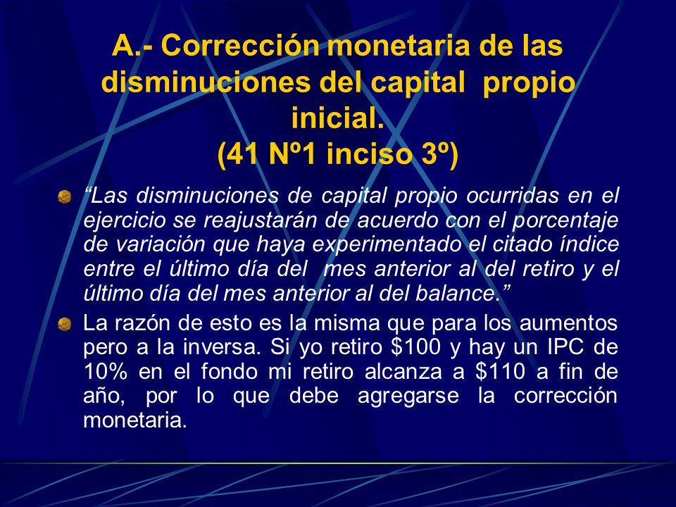A.- Corrección monetaria de las disminuciones del capital propio inicial. (41 Nº1 inciso 3º)