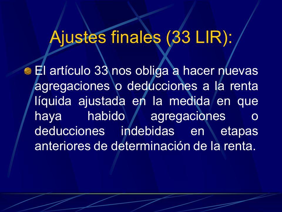Ajustes finales (33 LIR):