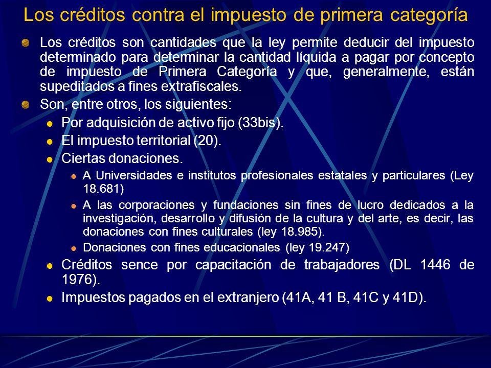 Los créditos contra el impuesto de primera categoría