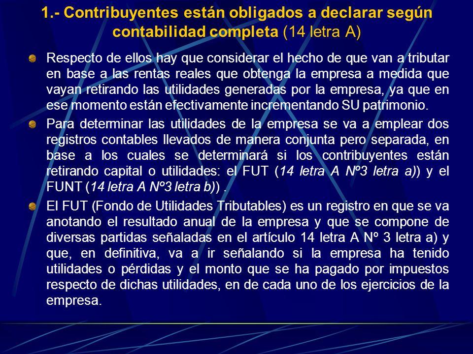 1.- Contribuyentes están obligados a declarar según contabilidad completa (14 letra A)