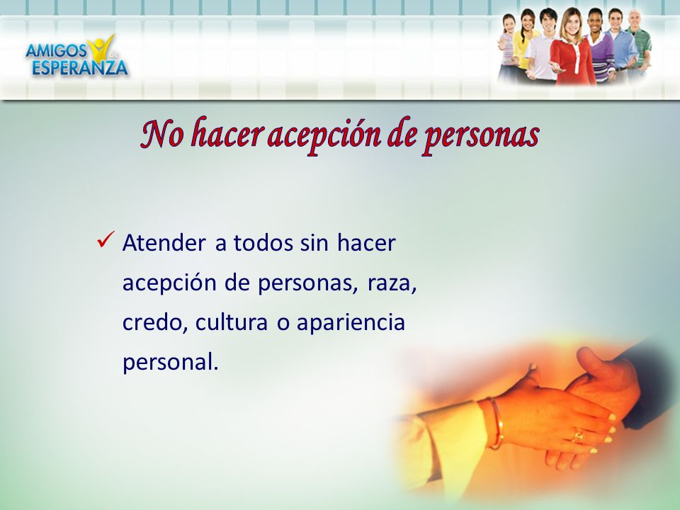 No hacer acepción de personas