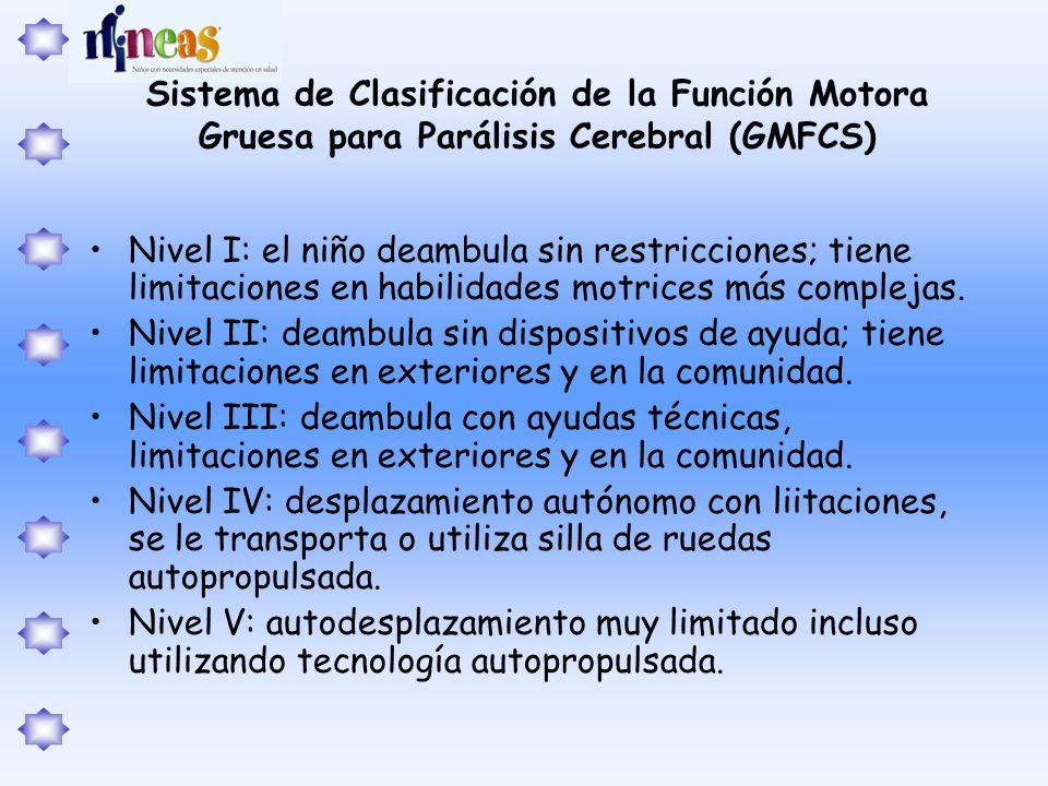 Sistema de Clasificación de la Función Motora Gruesa para Parálisis Cerebral (GMFCS)