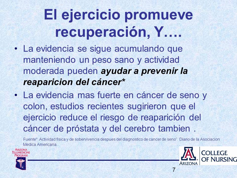 El ejercicio promueve recuperación, Y….
