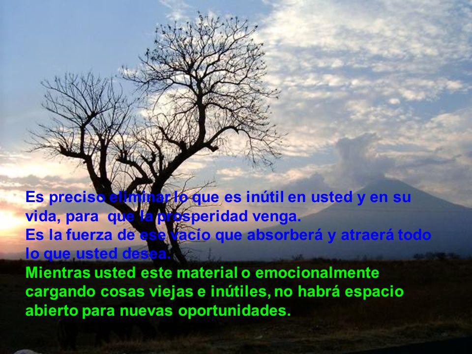 Es preciso eliminar lo que es inútil en usted y en su vida, para que la prosperidad venga.