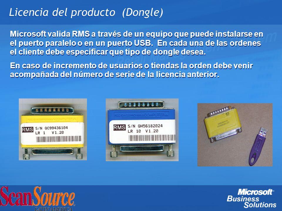 Licencia del producto (Dongle)