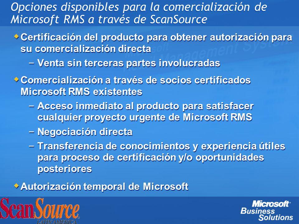 Opciones disponibles para la comercialización de Microsoft RMS a través de ScanSource