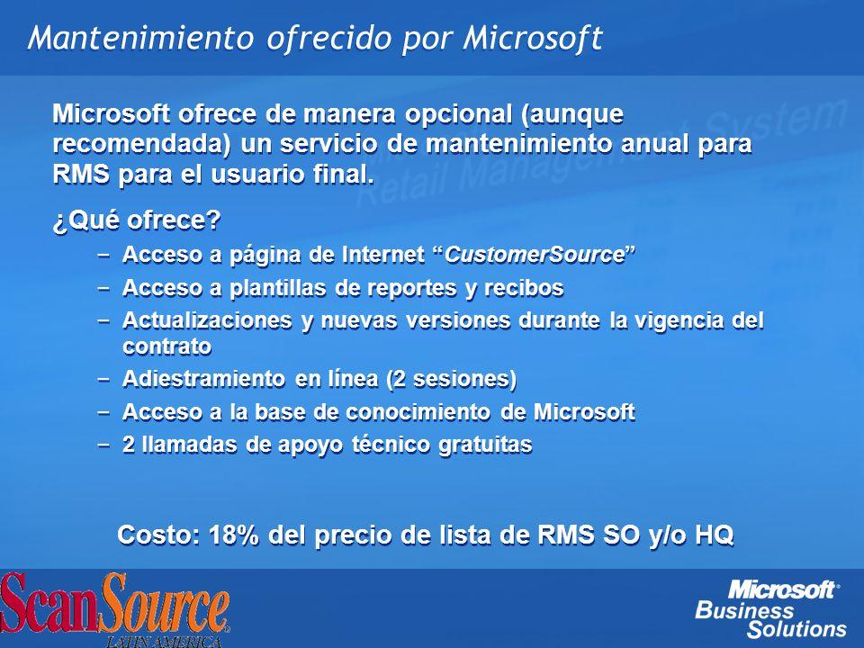 Mantenimiento ofrecido por Microsoft