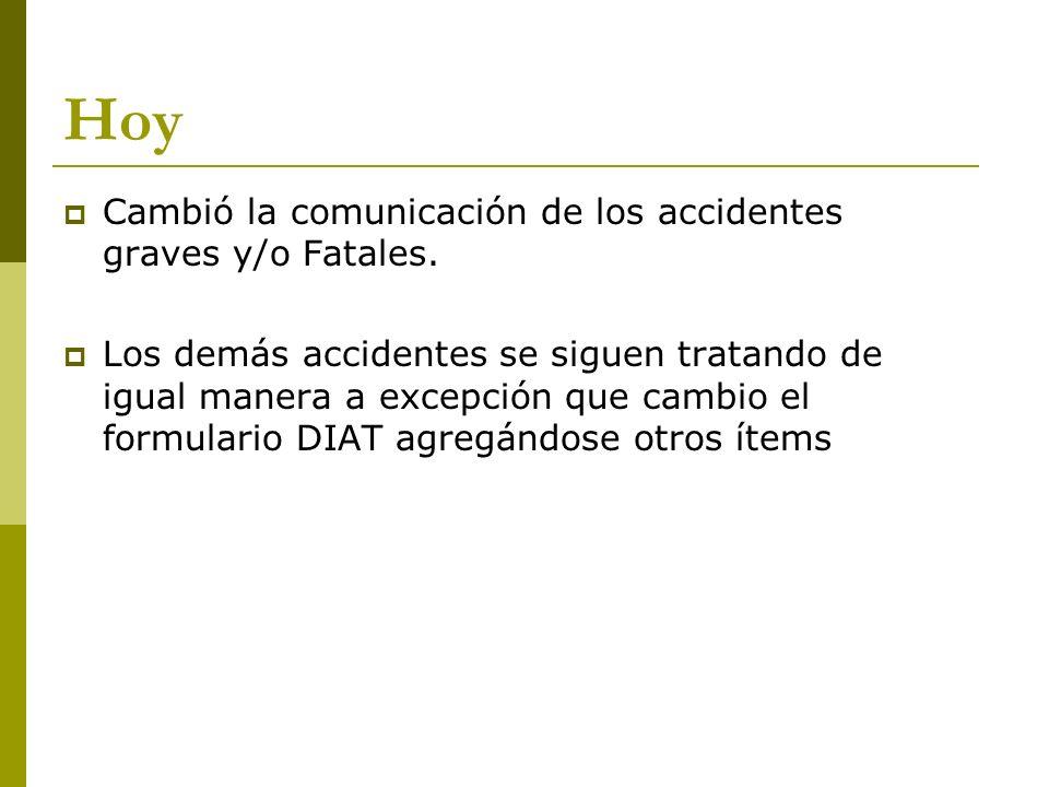 Hoy Cambió la comunicación de los accidentes graves y/o Fatales.