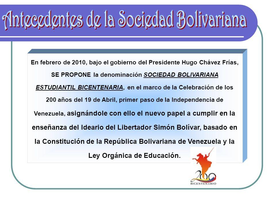 Antecedentes de la Sociedad Bolivariana