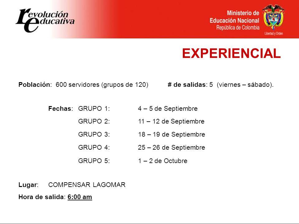 EXPERIENCIAL Población: 600 servidores (grupos de 120) # de salidas: 5 (viernes – sábado). Fechas: GRUPO 1: 4 – 5 de Septiembre.