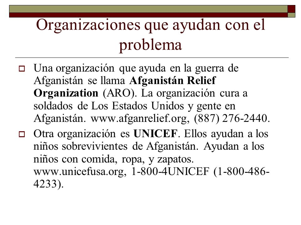 Organizaciones que ayudan con el problema