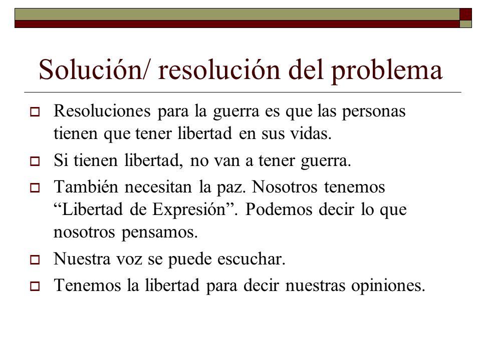Solución/ resolución del problema