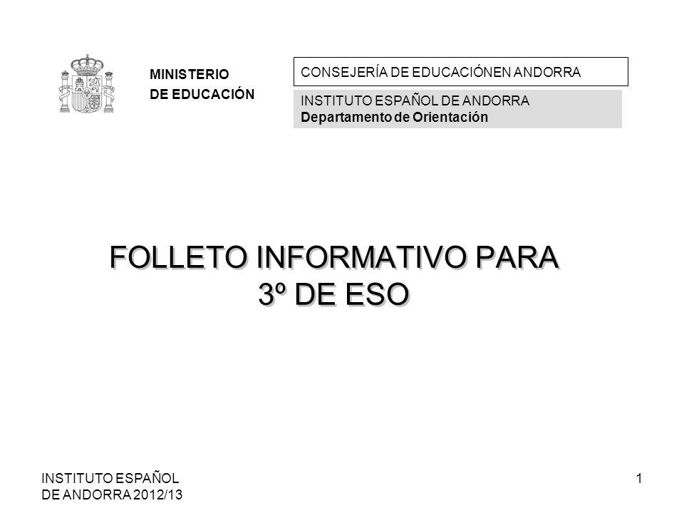 FOLLETO INFORMATIVO PARA 3º DE ESO