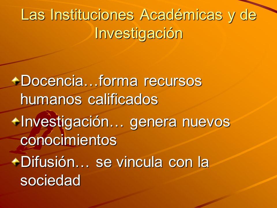 Las Instituciones Académicas y de Investigación
