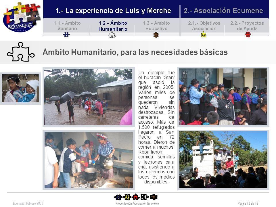 Ámbito Humanitario, para las necesidades básicas