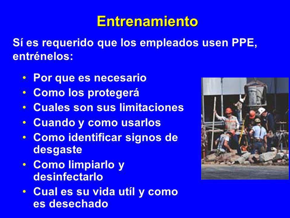 Entrenamiento Sí es requerido que los empleados usen PPE, entrénelos: