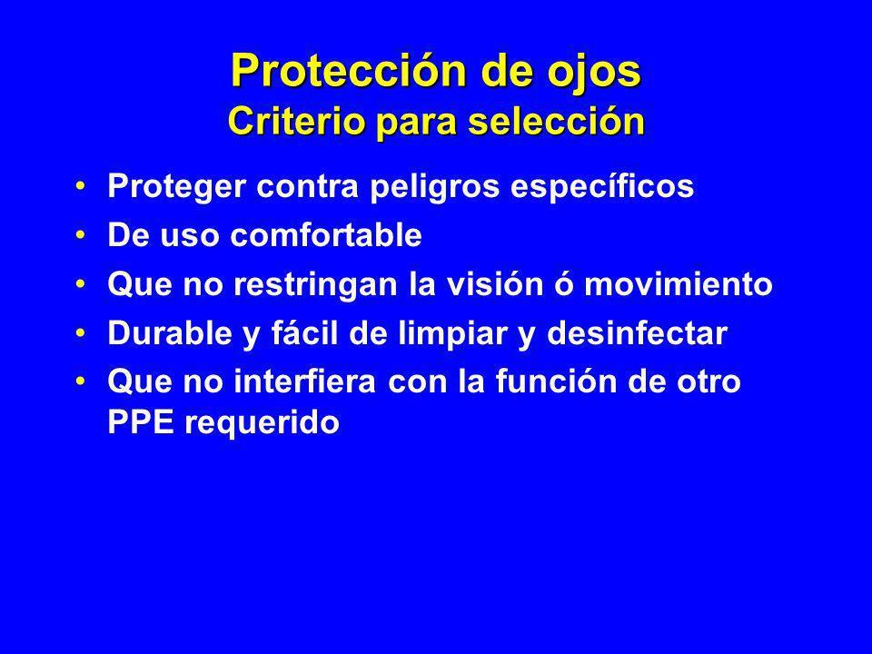 Protección de ojos Criterio para selección