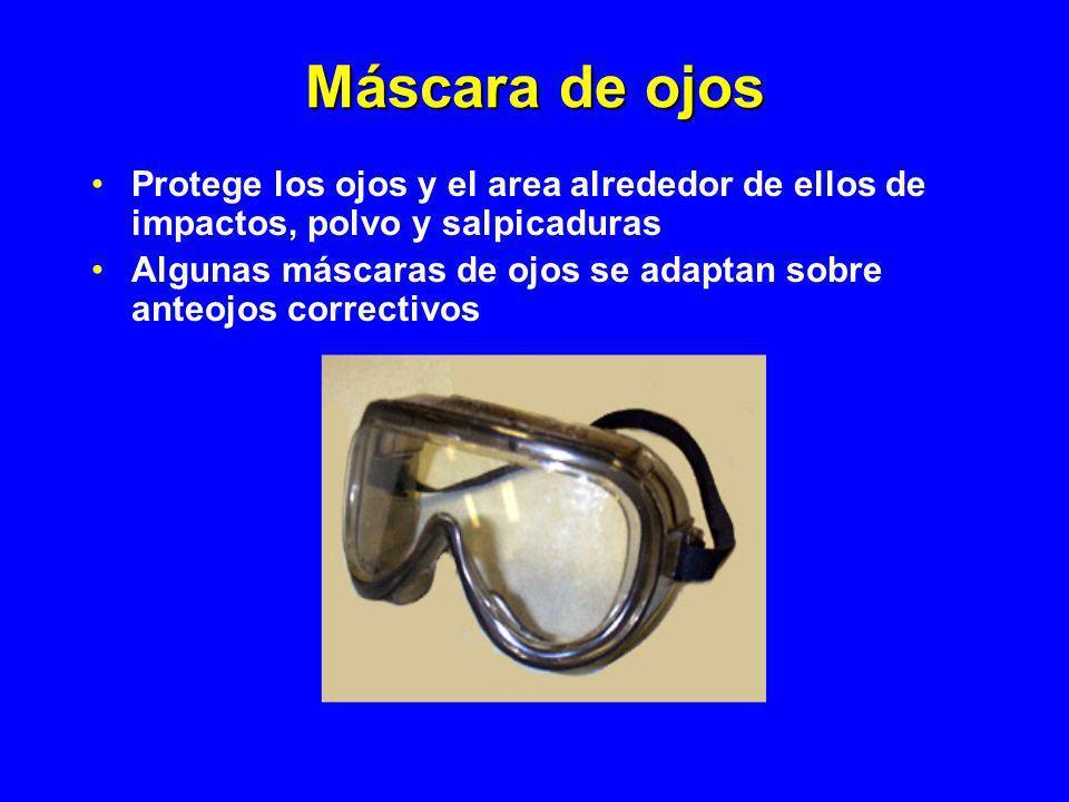 Máscara de ojos Protege los ojos y el area alrededor de ellos de impactos, polvo y salpicaduras.