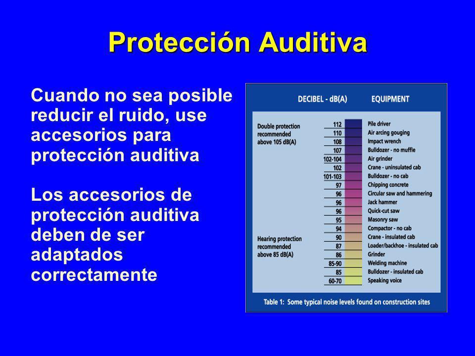 Protección Auditiva Cuando no sea posible reducir el ruido, use accesorios para protección auditiva.