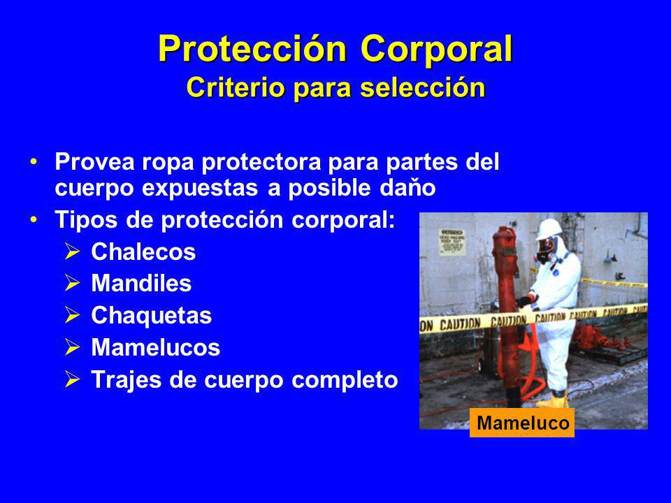 Protección Corporal Criterio para selección