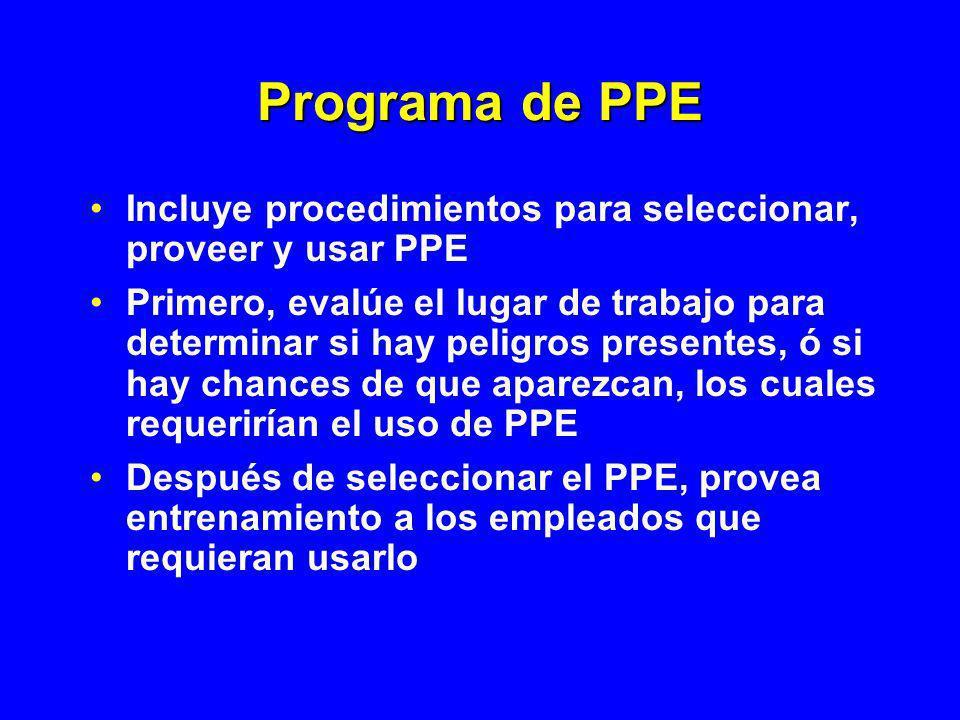 Programa de PPE Incluye procedimientos para seleccionar, proveer y usar PPE.