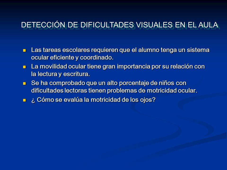 DETECCIÓN DE DIFICULTADES VISUALES EN EL AULA