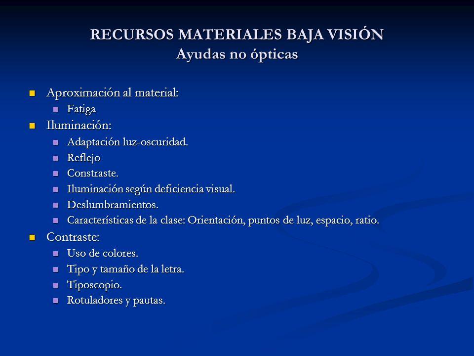 RECURSOS MATERIALES BAJA VISIÓN Ayudas no ópticas